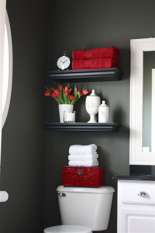 Fantastic  Basket And Simple Shelf Make This Bathroom Just A Little Bit Cozier