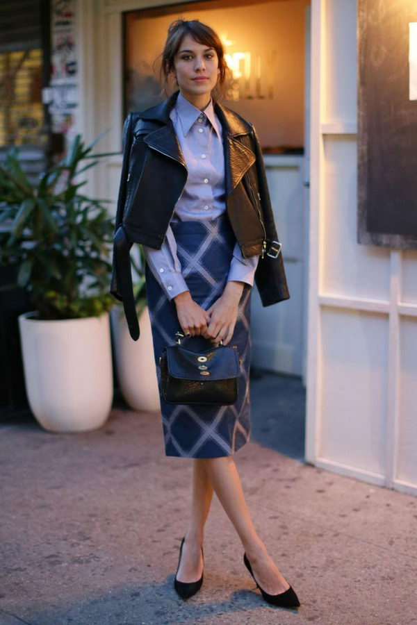 Stylish Pencil Skirt Idea. Shows the legs which keep it decidedly feminine. With a tucked in shirt or belted jacket, the pencil skirt gives you a long, lean line.