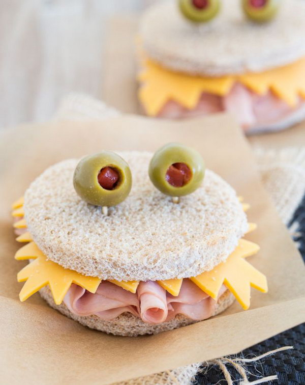 Turn the ham and cheese sandwich into all kinds of monsters and then eat them for lunch.