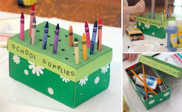 This shoebox craft box is a perfect solution to art desk clutter. Not only is it functional, it's also fun to make.