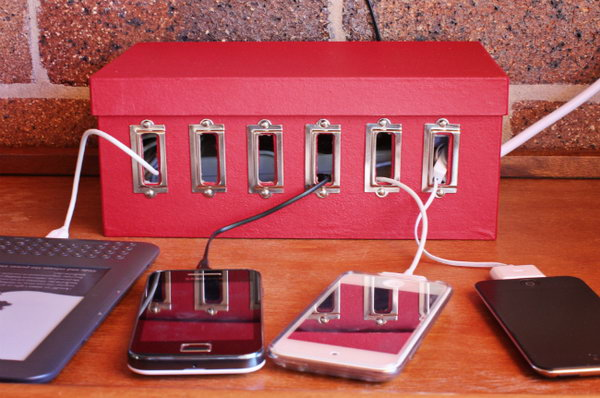 Create a recharge station for all of your devices, and keep tangled cables out of sight.