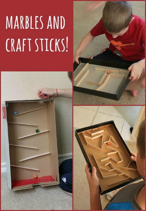 Build a marble run or marble maze with shoe box and craft sticks.  Simple materials and sturdy construction make it a WIN for a wide variety of ages.