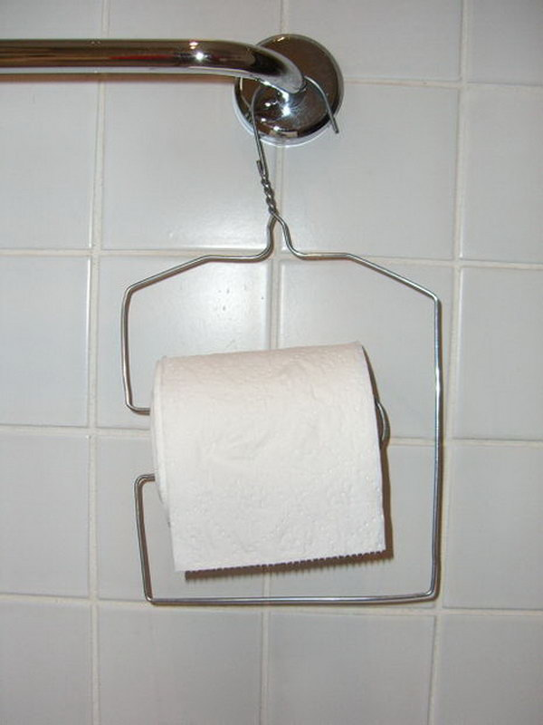 This Wire Clothes Hanger Was Upcycled Into A Toilet Paper Holder