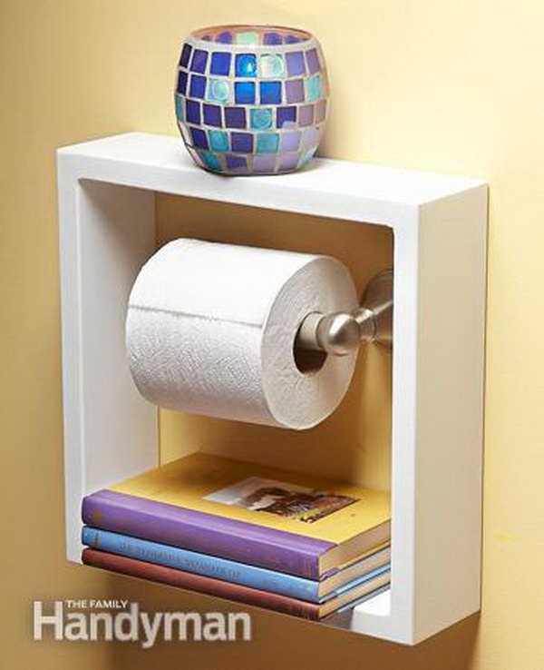 Take a deep shadow box picture frame and hung it around your toilet paper holder. It gives you two convenient shelves for small items in small bathroom.