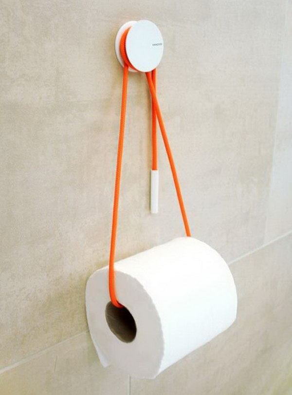 use a rope to hold your toilet paper storage roll and add a dash of - Bathroom Paper