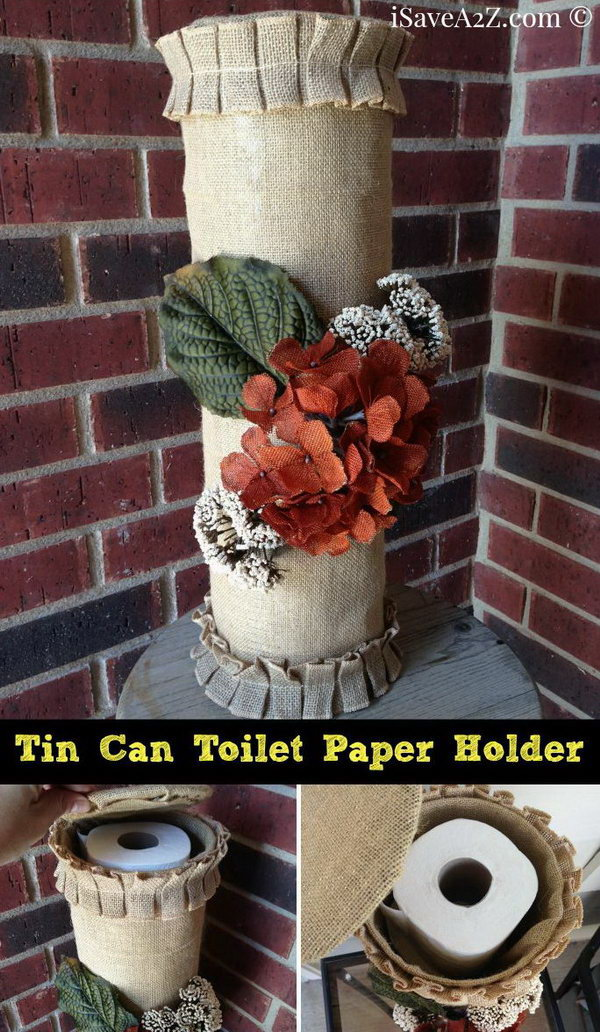 Turn your used tin cans into a toilet paper holder.