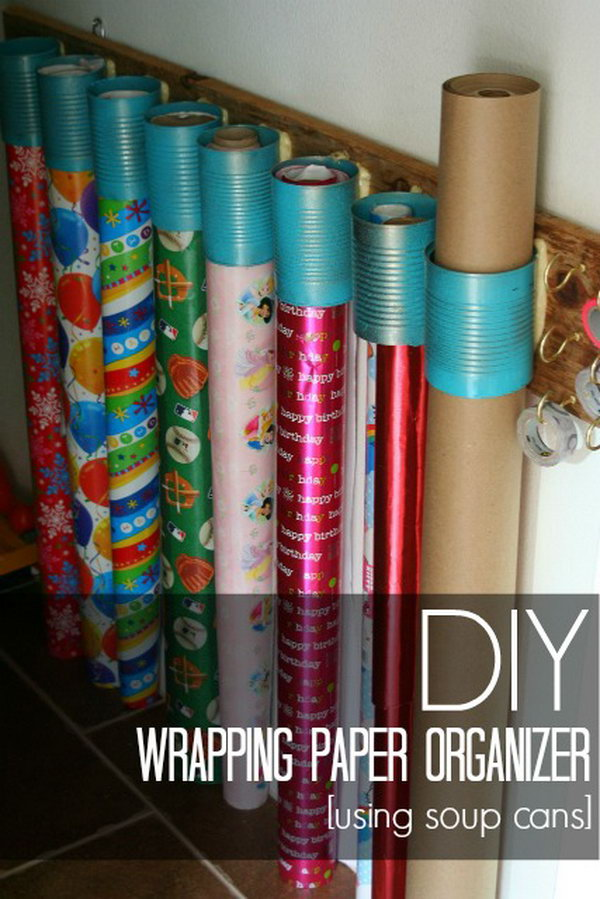 DIY Wrapping Paper Organizer Made From Soup Cans And Scrap Wood.
