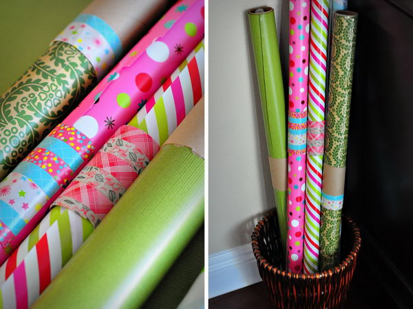 Use A Toilet Paper Roll To Wrap Around Open Rolls Of Wrapping Paper And  Keep Them