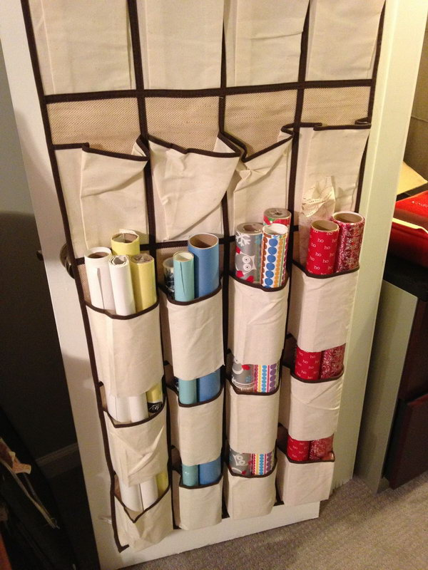 wrapping paper organizer creative wrapping paper storage ideas hative 29388