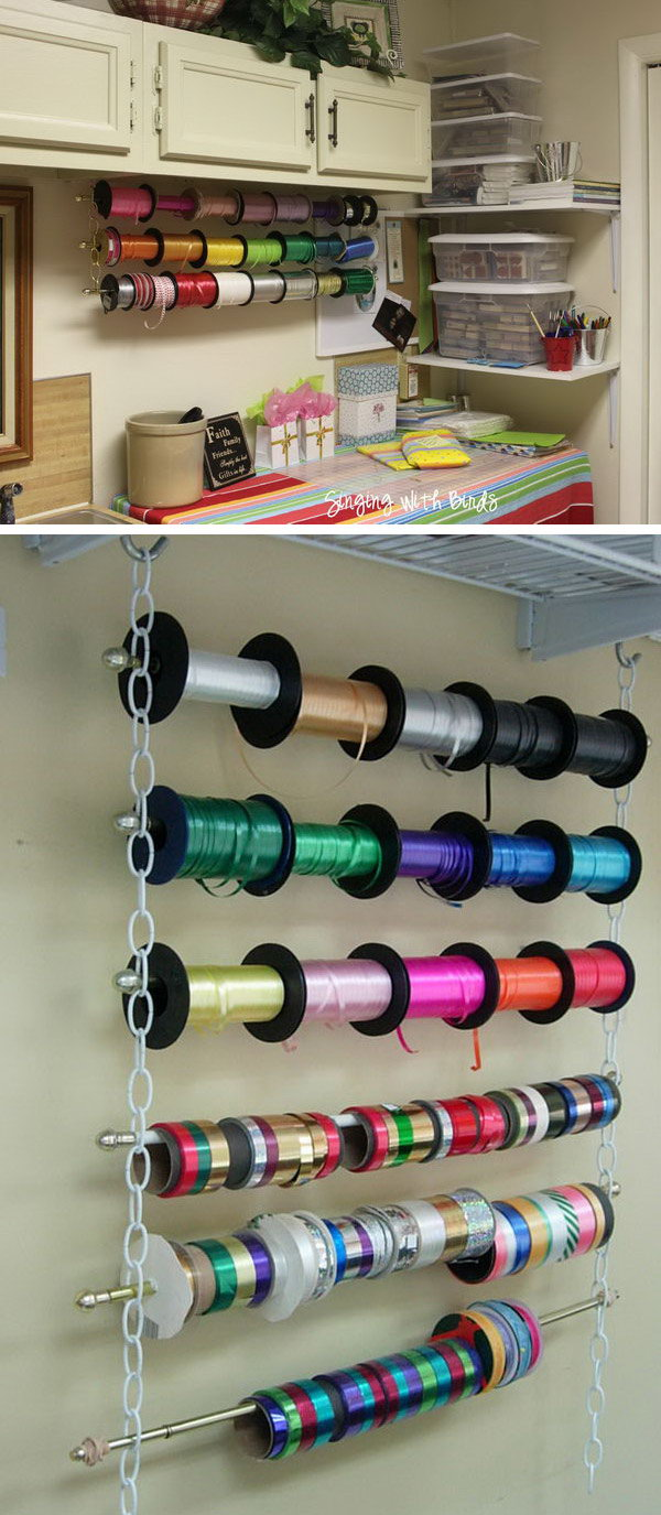 Make A Wrapping Ribbon Organizer With Chains, Cafe Style Curtain Rods And  Hooks. It