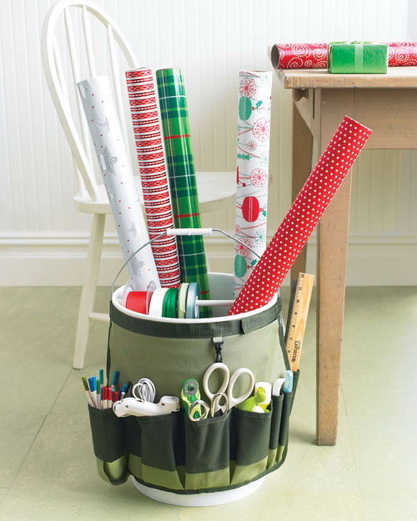 Make a portable gift wrapping station using a pail and a garden bucket caddy.