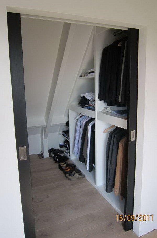Closet Storage Under Sloping Roof. If You Are Converting Your Attic Into A  Living Space