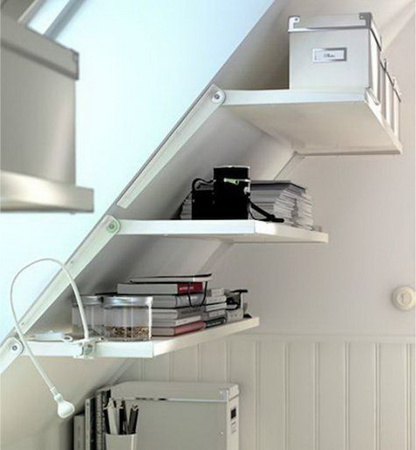 The Metal Bracket Can Be Locked Into Different Angles To Support Shelving.  It Allows You