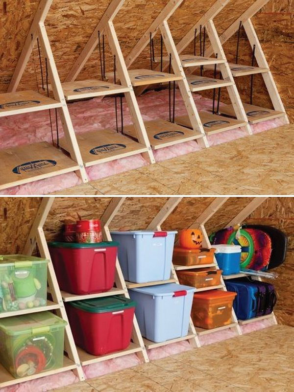 DIY Wooden Attic Shelves. By using the structures in the attic room ...