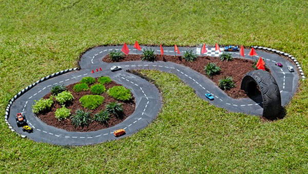outdoor race car track for kid fun garden ideas for kids - Garden Ideas For Toddlers
