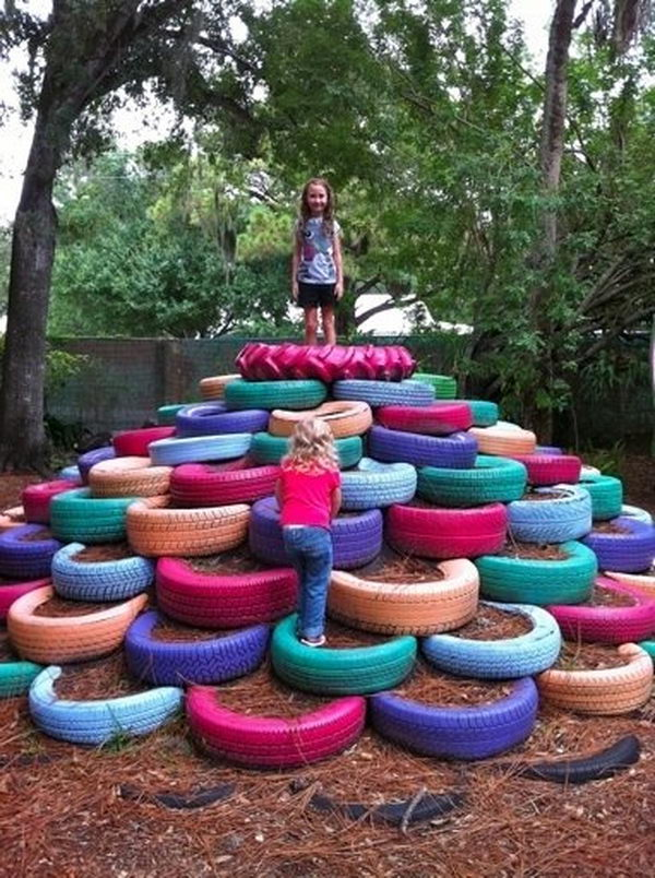 Upcycle Tires to Make a Jungle Gym. Interesting things to do out there in your backyard. So simple and cheap to make, and you could play them with your kids or family anytime.