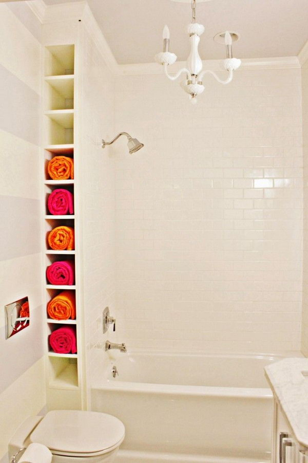 A Nook By The Tub. Create A Ceiling Height Rack Between Wall And Tub.