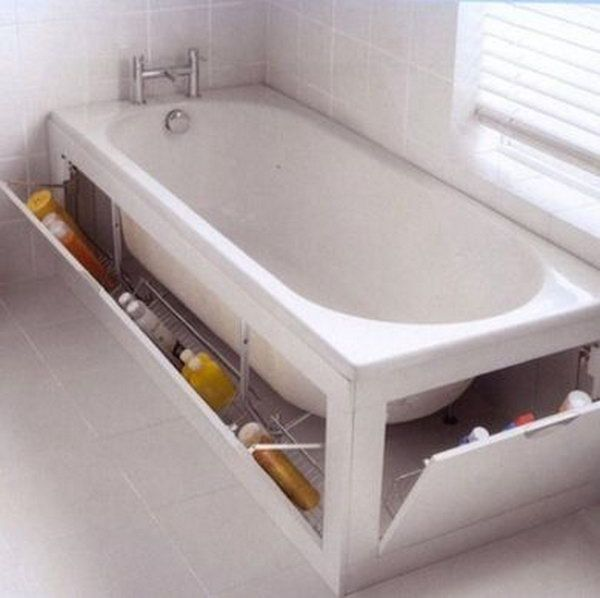 The built in cabinet surrounding this tub provides enough space for extra cleaning sponges, shampoo, and soap.