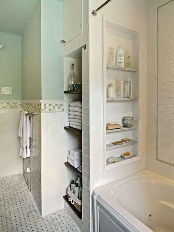 Bathtub With Storage Niches. Put in a few niches between the studs for shampoo, body wash, soaps, etc.