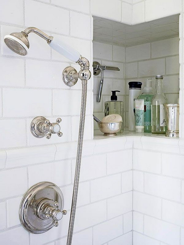 Shower Niche Around Corner. It is a clever idea which provides extra room for shampoos, soaps, a razor, and other necessities.