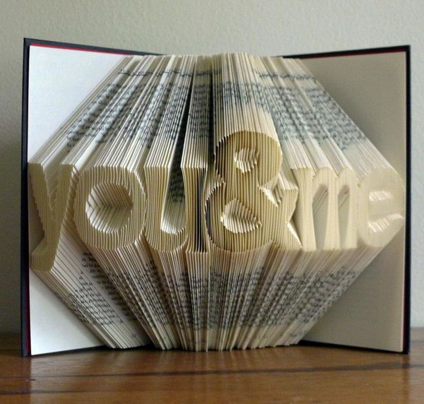 Folded Book Art Sculpture. This artwork is a creative and novel gift idea for your besties. This foled book art sculpture is a wonderful ornament for the desk.