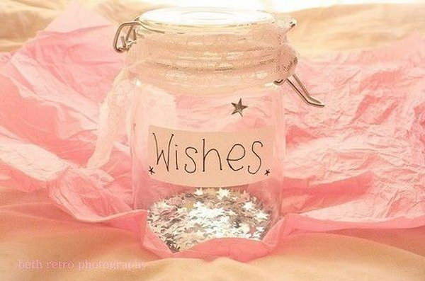 Glitter Jar. It is very easy and simple to make this present for your best friend. You just need to buy a mason jar and add some glitter to the jar. Then put some notes of things your friend has wished for in the jar.