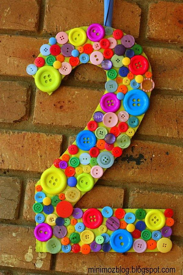 Button Craft Ideas For Kids Part - 47: Rainbow Colored Button Number. A Cute Party Decorating Idea For Kids.  Perfect For A