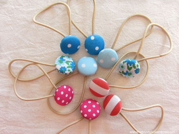 Sweet Covered Button Hair Ties for Girls.