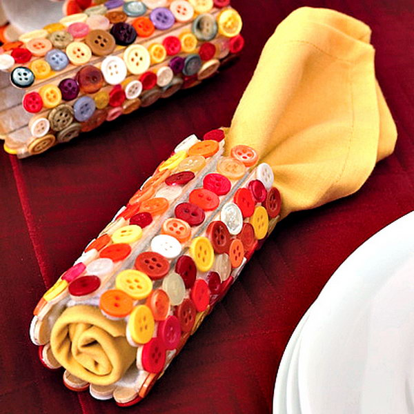 Button Napkin Rings. A great way for kids to help prepare for a big meal or gathering.