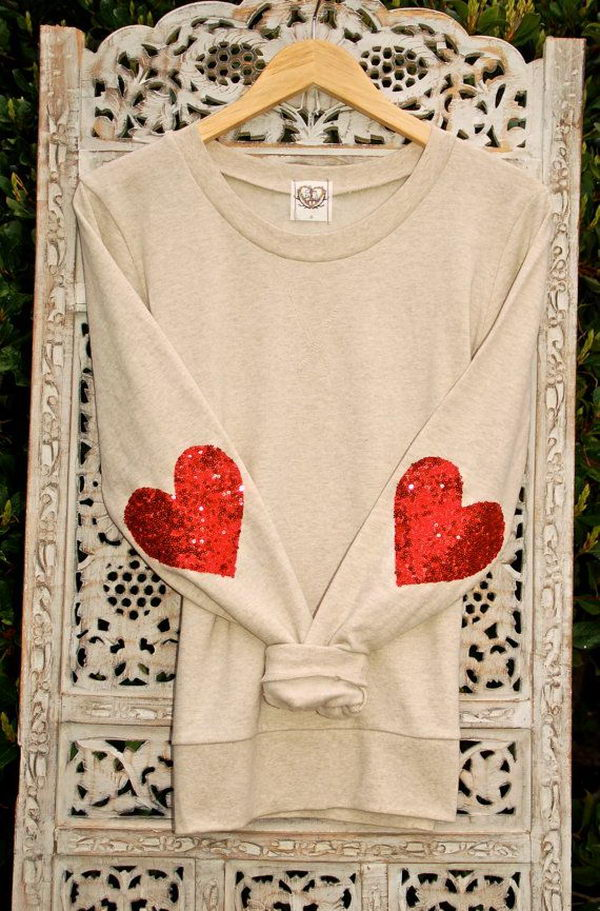 Sequin Heart Elbow Patch. Create a style of intelligence, distinction and romantic fashion. Give your old sweater or jacket a new life.