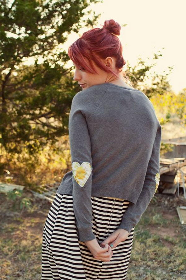 DIY Heart Elbow Patches. Create a style of intelligence, distinction and romantic fashion. Give your old sweater or jacket a new life.