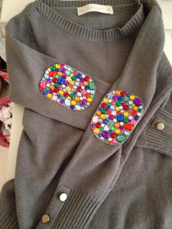 Jeweled Elbow Patches. Create a style of intelligence, distinction and romantic fashion. Give your old sweater or jacket a new life.