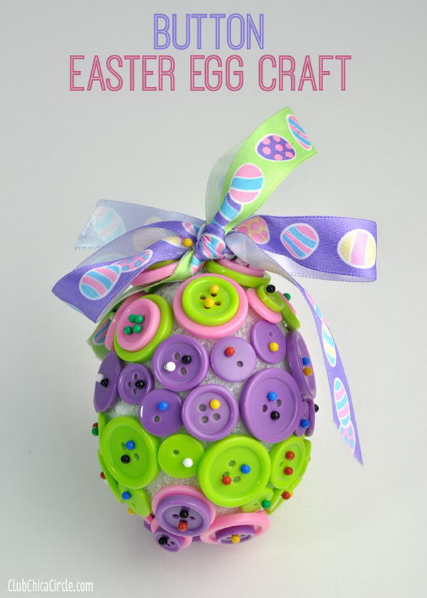 Button Easter Egg Ornament Craft. Buttons + Styrofoam egg + Headpins +