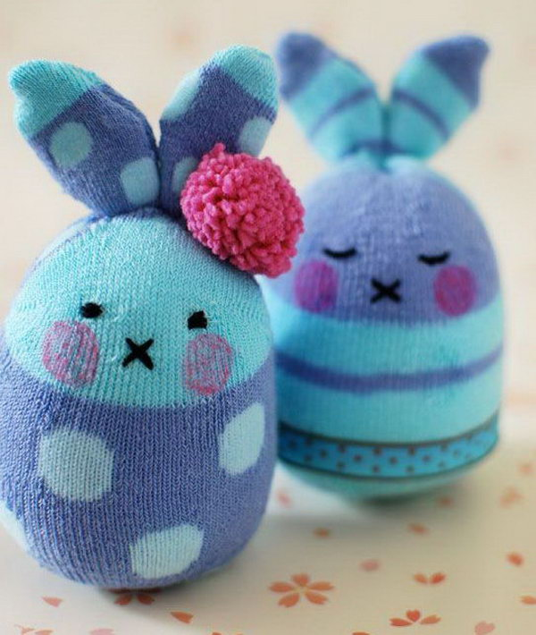 Bunny Softies Made from Socks. Can you imagine these cute bunny crafts are made from socks? It's easy to make and don't require a lot of sewing.