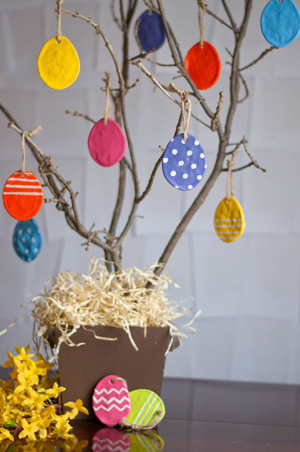 DIY Salt Dough Eggs. It's a perfect craft for kids to make for Easter. Hang it on your Easter tree and bring some spring color to your house.