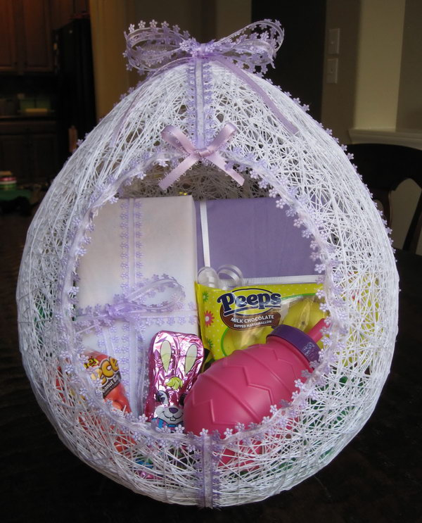 Egg Shaped Easter Basket Made From String Create This Fun And Colorful Baskets With
