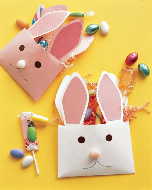 Envelope Bunnies. Use envelopes and paper to create envelope bunnies. Fill it with some delicious treats and candies. It's a great way to say happy Easter.