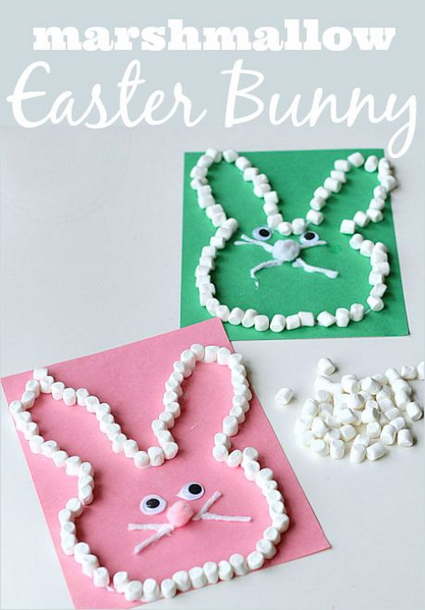 Marshmallow Easter Bunny Craft. Incorporate some math into the craft. Use marshmallows to boost fine motor development and counting for kids.