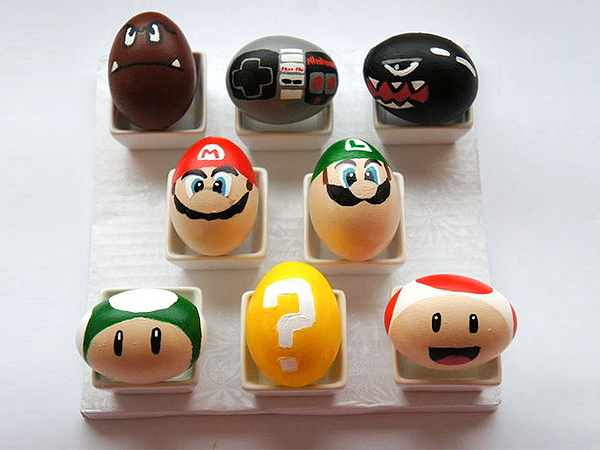 Super Mario Easter Eggs. If you are a fan of Super Mario, paint these eggs into the heroes in your game. Just inspire your creation sparks!