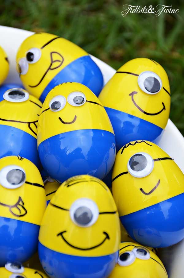 Minion Egg Hunt Game. Each child had to find 4 plastic Minion eggs numbered 1 4, with each numbered egg containing a different prize.