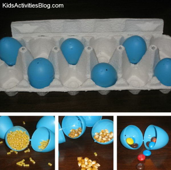 What's Inside. Fill the eggs with different things like popcorn kernels and candy. Have the kids try to guess what is inside.