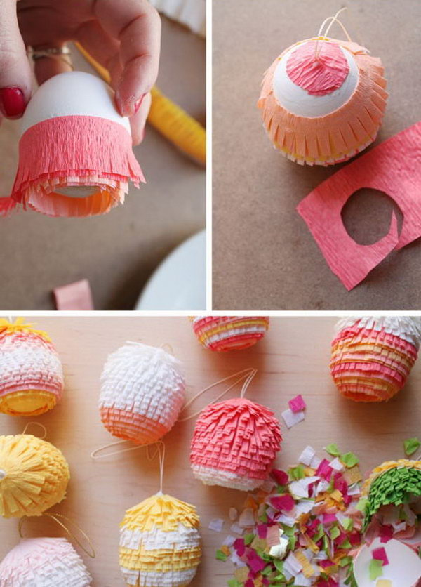 Pinata Eggs. Easy to make and packing a wonderful surprise inside, they will surely brighten up your celebration.