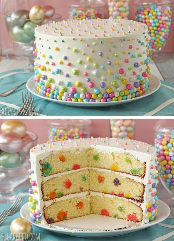 Easter Polka Dot Cake Decorate Both The Outside And Inside Of With A