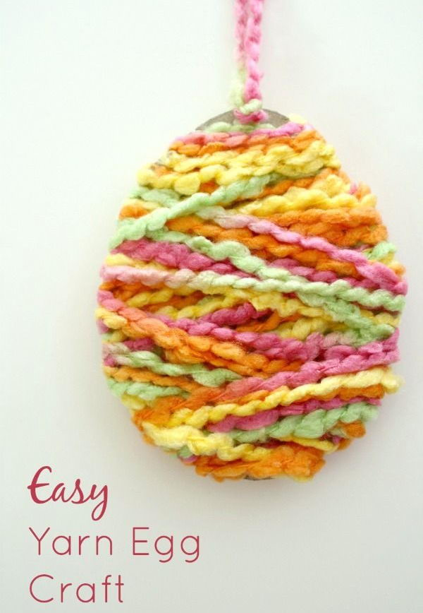 Yarn Egg Easter Craft. These Easter crafts are fun and easy for kids to make. It's a great idea for a no mess activity during Easter parties, class activities or large group gatherings.