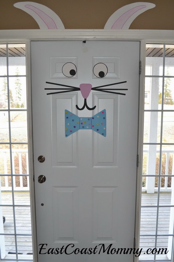Easter Bunny Door. What better way to welcome people with a door decorated like a bunny? It's easy and inexpensive to do and will please your guest for sure.