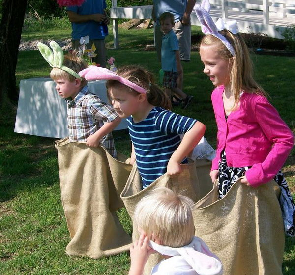 Bunny Hop Race. Attached fluffy yarn tails to the potato sacks or pillowcases. Kids put on bunny ears and hippity hop to the finish line. This nostalgic and fun game is perfect for an Easter party.