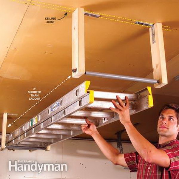 Overhead Garage Storage for Ladder. Build a simple rack to suspend a ladder from your garage ceiling.