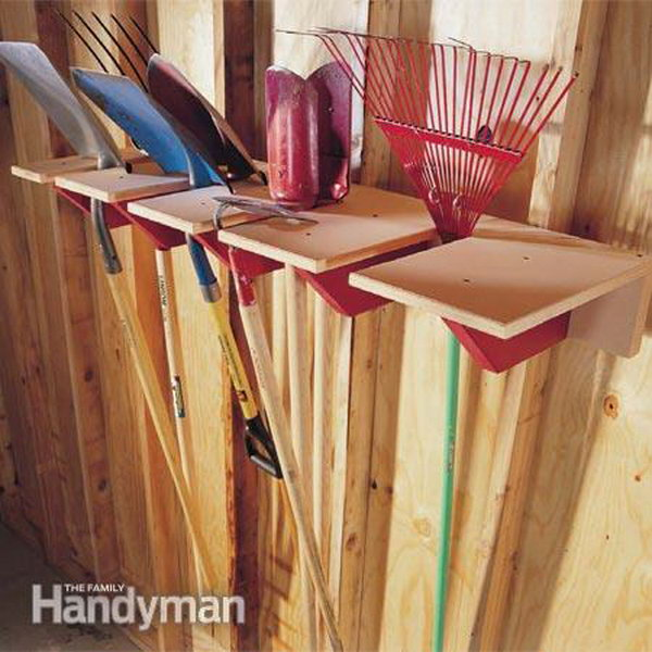 A Simple Yet Functional Garage Storage Idea For Yard Tools.