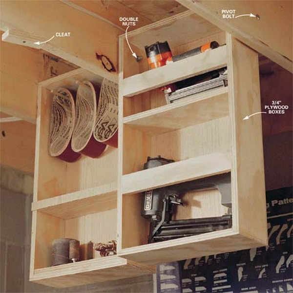 Garage Ceiling Drawers. Make best of hanging storage between the ceiling joists. Swing down the drawers to be available while working, and out of the way when done working.