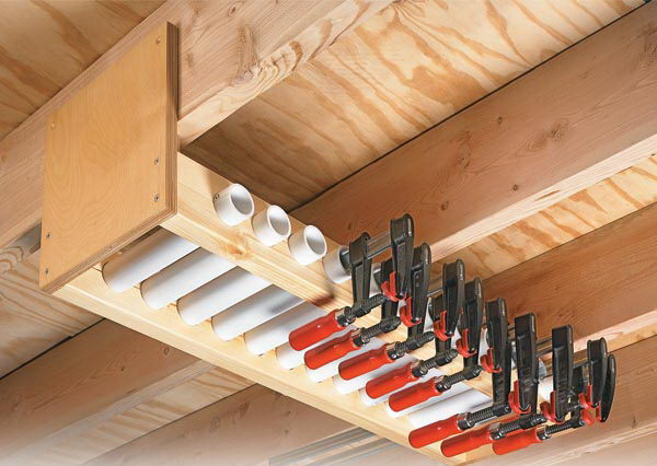 Garage Overhead Cl& Rack. Short lengths of PVC pipe held in the rack serve as & Clever Garage Storage and Organization Ideas - Hative